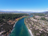 Clutha River at Outlet  Lake Wanaka  and Lake Outlet Holiday Park  Otago  South Island  New Zealand