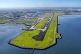Main Runway at Auckland Airport  and Manukau Harbour  Auckland  North Island  New Zealand