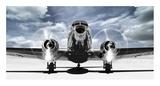 Airplaine taking off in a blue sky Reproduction d'art par Gasoline Images