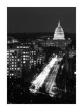 Dusk view of Pennsylvania Avenue  America's Main Street in Washington  DC - Black and White Varia