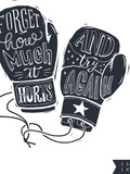 Motivational Quote Hand-Written within Silhouette of Boxing Gloves Creative Hand Lettering Persis