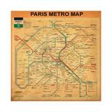 Paris Metro Map - Orange Giclée par Bill Cannon