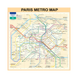 Paris Metro Map - Peach Giclée par Bill Cannon