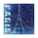 PARIS- Blue Giclée par Bill Cannon