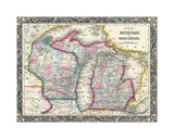 County map of Michigan and Wis
