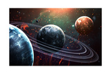 Universe Scene with Planets  Stars and Galaxies in Outer Space Showing the Beauty of Space Explorat