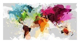 Colourful World Map Reproduction d'art par GraphINC