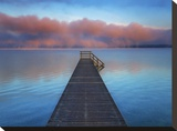 Boat ramp and fog bench  Bavaria  Germany