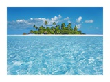 Tropical lagoon with palm island  Maldives