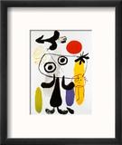 Figur Gegen Rote Sonne II, c. 1950 Reproduction encadrée par Joan Miró