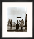 Musician in the Rain Reproduction encadrée par Robert Doisneau
