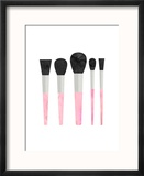 Pink Makeup Brushes Reproduction encadrée par Peach & Gold