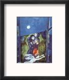 Lovers in Moonlight Reproduction encadrée par Marc Chagall