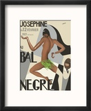 Josephine Baker - Au Bal Negra (The Black Ball) - le 12 Février 1927 (February 12, 1927) Reproduction encadrée