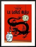 Le Lotus Bleu, c.1936 Reproduction encadrée par Hergé (Georges Rémi)