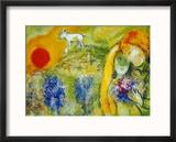 Amoureux de Vence Reproduction encadrée par Marc Chagall