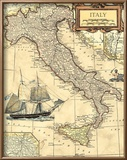 Italy Map Reproduction encadrée