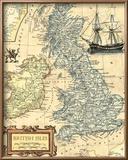 British Isles Map Reproduction encadrée