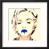 Madonna Pop Art Blue Lips Reproduction giclée encadrée par Pop Art Queen
