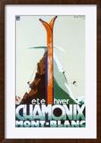 Ete Hiver Chamonix Mont-Blanc Reproduction encadrée par Henry Reb