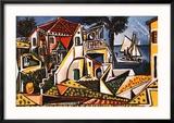 Mediterranean Landscape Reproduction encadrée par Pablo Picasso