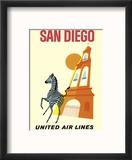 San Diego, California - Zebra - San Diego Zoo - Balboa Park - United Air Lines Reproduction encadrée