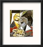Tete d'une Femme Lisant Reproduction encadrée par Pablo Picasso