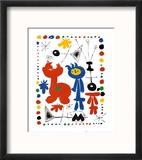 Personnage et Oiseaux Reproduction encadrée par Joan Miró