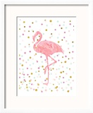 Pink Flamingo on Confetti Reproduction encadrée par Peach & Gold
