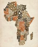 Typography Text Map of Africa Tableau sur toile par Michael Tompsett