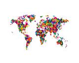 Love Hearts Map of the World Tableau sur toile par Michael Tompsett