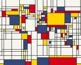 Mondrian Abstract World Map Tableau sur toile par Michael Tompsett