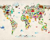 Animal Map of the World Tableau sur toile par Michael Tompsett