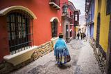 Chollita on Calle Jaen, a Colourful Colonial Cobbled Street in La Paz, La Paz Department, Bolivia Tableau sur toile par Matthew Williams-Ellis