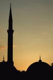 Minaret and Dome of the Blue Mosque at Dusk Tableau sur toile par Design Pics Inc