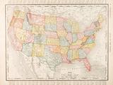 Antique Vintage Color Map United States of America, USA Tableau sur toile par Qingwa