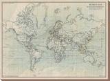 Ocean Current Map I Tableau sur toile par The Vintage Collection