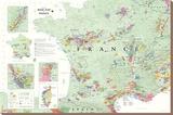 Carte des vins en France, Poster Tableau sur toile