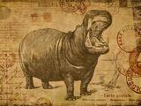 Vintage Hippo Sepia