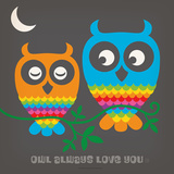 Rainbow Owls Square