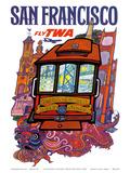 San Francisco  USA - Fly TWA (Trans World Airlines) - Presidio  California  Market Street Cable Car