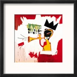 Trompette, 1984 Reproduction encadrée par Jean-Michel Basquiat