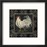 Black and White Rooster II Reproduction encadrée par Jo Moulton