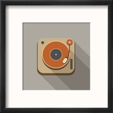 Retro Record Player Icons Reproduction encadrée par YasnaTen