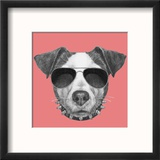 Original Drawing of Jack Russell with Collar and Sunglasses. Isolated on Colored Background Reproduction encadrée par Victoria_novak