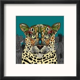 Leopard Queen Teal Reproduction encadrée par Sharon Turner