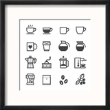 Coffee Icons Reproduction encadrée par Pking4th