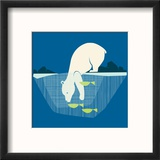 Fishing Bear Reproduction encadrée