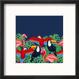 Tropical Birds Seamless Pattern with Palm Leaves Reproduction encadrée par Incomible
