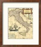 Carte d'Italie Reproduction encadrée par Vision Studio